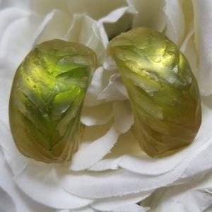 Vintage Earrings Pierced Groved Hoops Plastic